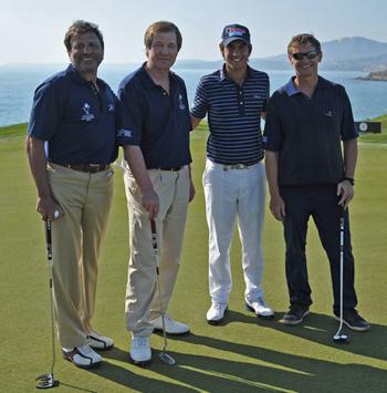 Sir Rocco Forte mit George O'Grady, CEO der European Tour und dem Golf Por Matteo Manassero während dem ProAM bei den Sicilian Open auf Verdura Golf and Spa Resort
