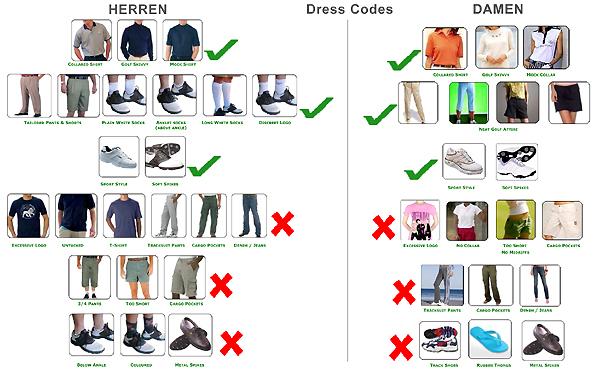 Die Do- und Don't Listen für die richtige Kleidung auf dem Platz sind mitunter etwas verwirrend, aber eigentlich nicht schwer in die Praxis umzusetzen. Fotocredit: Woodlands Golf Club (AU)