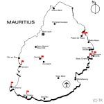 Übersichtskarte von Mauritius mit Lage der 18-Loch Plätze sowie prägnanter Orte - Credit: Thomas Klages