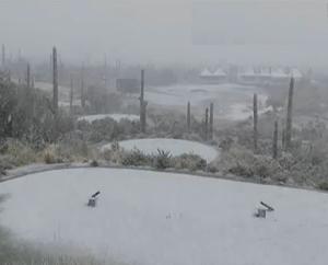 Schnee und Frost in der Wüste Arizonas unterbrechen die WGC