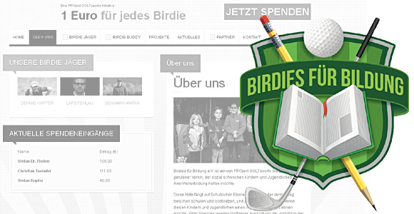 Birdies für Bildung als Projekt zur Förderung von sozial benachteiligten Kindern und Jugendlichen - Photocredits: Nagel Werbeagentur