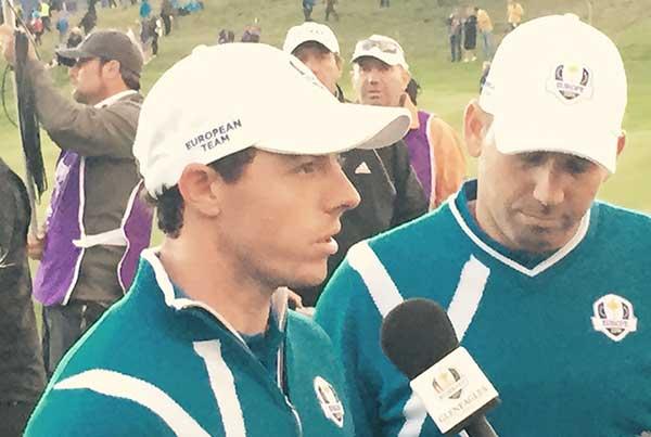 Rory McIlroy, Sergio Garcia teilen mit 2 Birdies auf der 17 und 18 das Foursome Match