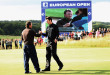 ASH, UNITED KINGDOM - JULY 06:  Ross Fisher of England shakes hands with Graeme McDowell of Northern Ireland on the 18th green during the final round of The European Open on July 6, 2008 at the London Golf Club in Ash, Kent, England.  (Photo by Andrew Redington/Getty Images)