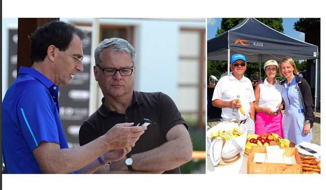 Erstmalig dabei die CEO Golfers App - hier präsentiert Jürgen Mayer die CEO Golf App entwickelt von der Firma plazz.ag wo er selbst CEO und Gesellschafter ist. rechts Golf Liga Sponsor und Unternehmer Wiestav Kramski mit Frauund Yvonne Wirsing von exklusiv-golfen.de
