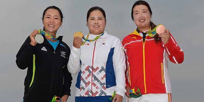 Olympische-Spiele-Damengolf-Medaillen