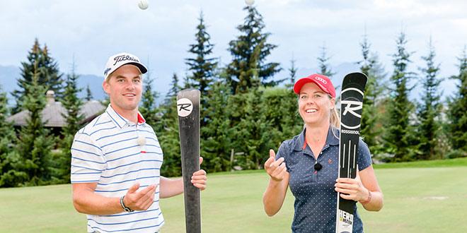 Schweizer Profigolfer Mathias Eggenberger mit Amateurgolferin Fränzi Aufdenblatten im Golfclub Vebrier. Fotocredit: Nadine Rupp