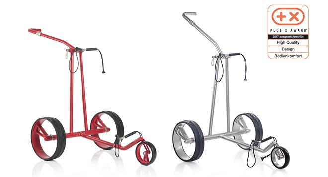 Den Elektrotrolley 'JuCad Phantom' gibt es für die neue Golfsaison sogar in Signalfarbe 'Rot'
