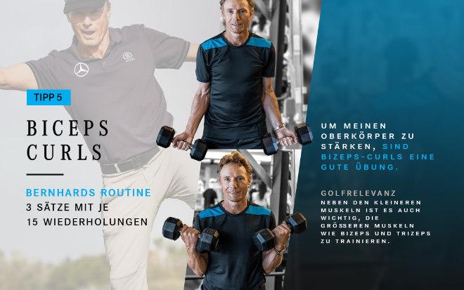 Golfprofi und Mercedes-Benz Markenbotschafter Bernhard Langer trainiert hier seine größeren Muskeln