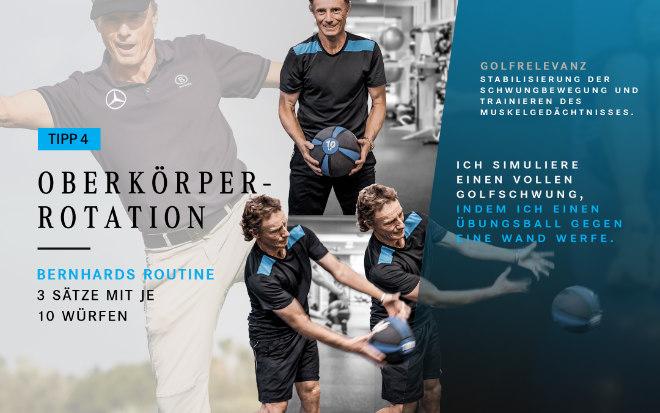 Golfprofi und Mercedes-Benz Markenbotschafter Bernhard Langer simuliert mit dieser Übung einen kompletten Golfschwung.