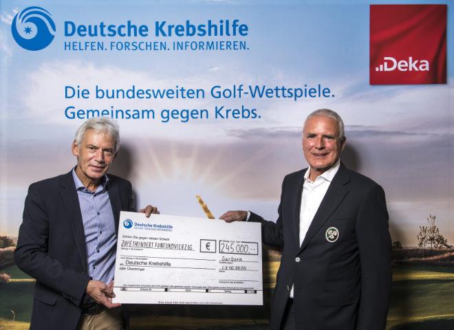 v.l. Gerd Nettekoven (Vorstandsvorsitzender der Deutschen Krebshilfe), Jörg Echternach (Präsident des Golfclub Hannover e.V.) .; Quelle: Stefan von Stengel