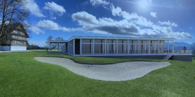 Die Zwischenlösung bis zu einem neuen Golf Clubhaus sieht bereits chicer aus als normale Clubhäuser. Fotocredit: Golf Sempach