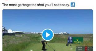 Golfball in die Mülltonne - kurioser Golfschlag